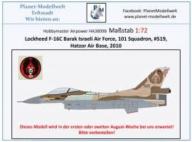 !A HA3809B F-16C Barak IAF 101 Sqd., Hatzor Air Base 2010, Hobbmaster 1:72,NEU 8/21 - Bild vergrößern