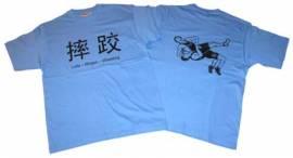Ringer T-Shirt in vier Sprachen, hellblau - Bild vergrößern
