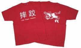 Ringer T-Shirt in vier Sprachen, rot - Bild vergrößern