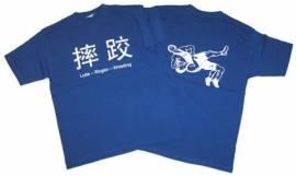 Ringer T-Shirt in vier Sprachen, royal - Bild vergrößern