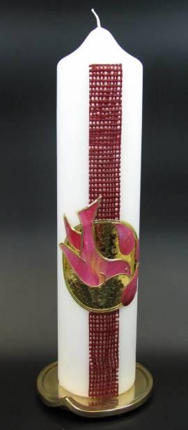 Taufkerze Netz rot, Handarbeit, 26,5x6cm - Bild vergrößern