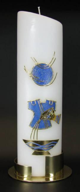 Taufkerze Taufkleid blau, Handarbeit, 24cm oval - Bild vergrößern