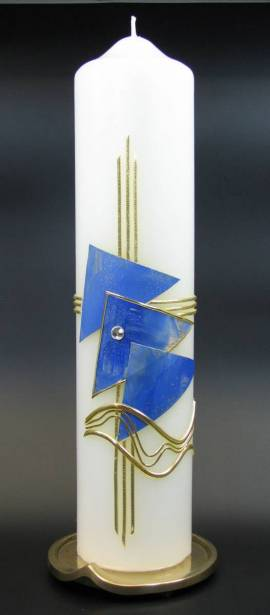 Taufkerze Dreieck blau, Handarbeit, 26,5x6cm - Bild vergrößern