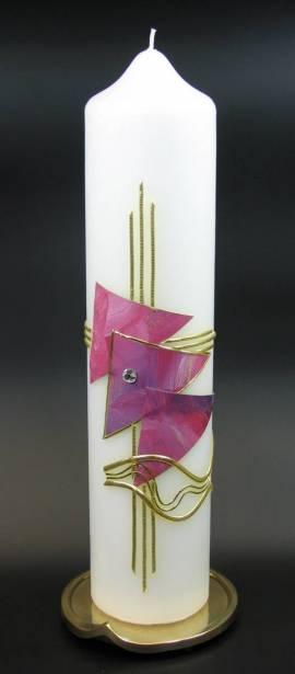 Taufkerze Dreieck rot, Handarbeit, 26,5x6cm - Bild vergrößern