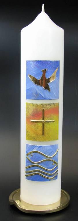 Taufkerze Glaube, Handarbeit, 26,5x6cm - Bild vergrößern