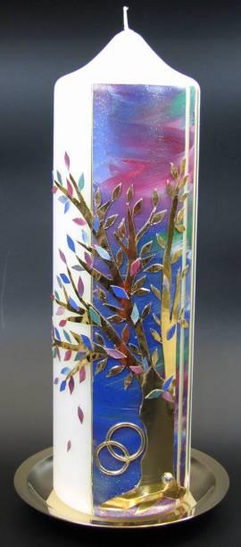 Hochzeitskerze Baum Gold, Handarbeit, 26,5x8cm - Bild vergrößern