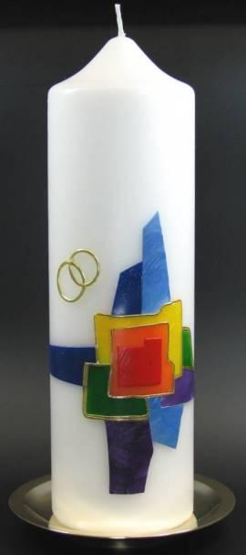 Hochzeitskerze Buntes Kreuz, Handarbeit, 26,5x8cm - Bild vergr��ern