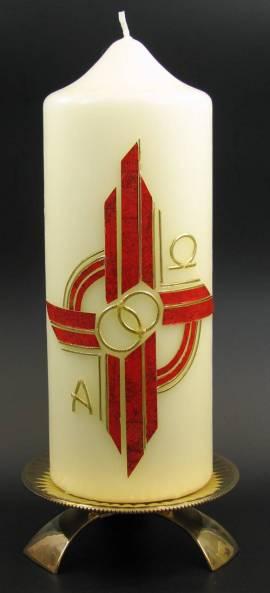 Hochzeitskerze Alpha und Omega, Handarbeit, 21,5x8cm - Bild vergr��ern