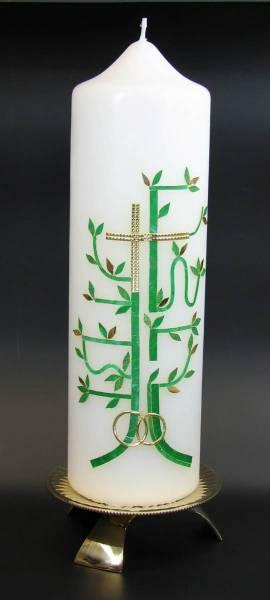 Hochzeitskerze Kreuz Baum Gold, Handarbeit, 26,5x7cm - Bild vergrößern