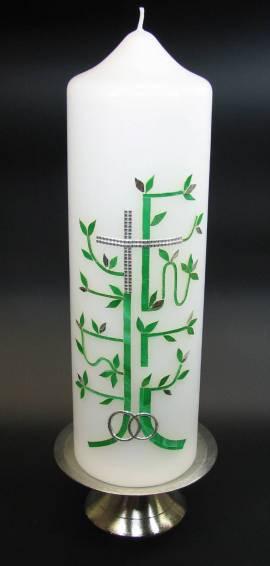 Hochzeitskerze Kreuz Baum Silber, Handarbeit, 26,5x7cm - Bild vergrößern
