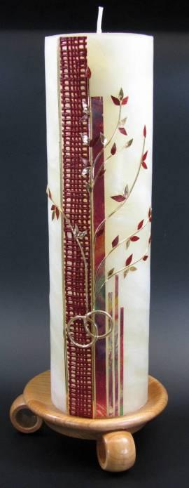Hochzeitskerze Lebensbaum rot, 25% Bienenwachs, Handarbeit, 25x7cm - Bild vergrößern