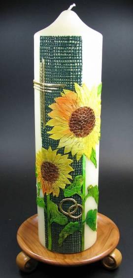 Hochzeitskerze Sonnenblumen, Handarbeit, 30x8cm - Bild vergr��ern