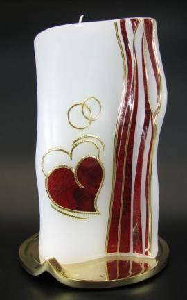 Hochzeitskerze Herz Wellrand, von Hand verziert, 20x11 cm - Bild vergrößern