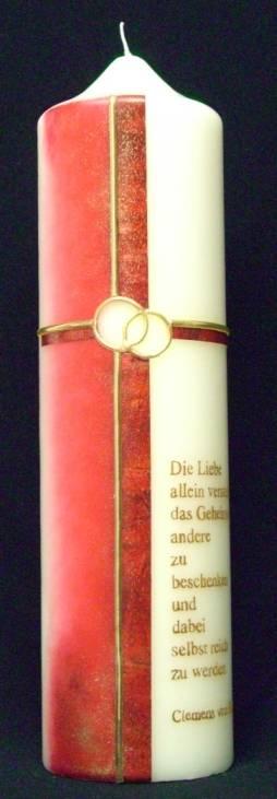 Hochzeitskerze Trauspruch, Handarbeit, 30x8cm - Produktbild