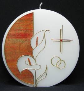 Hochzeitskerze Calla Scheibe, von Hand verziert, rund 16cm Durchmesser - Bild vergrößern