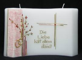 Hochzeitskerze -Die Liebe hält allem Stand- Gold, Doppelkerze halbrund 24x16cm - Bild vergrößern