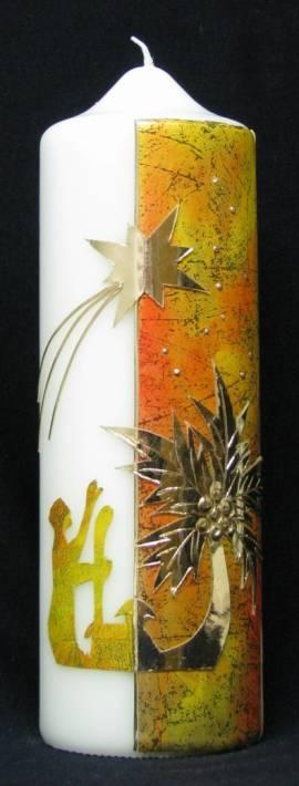 Weihnachtskerze -Hirten-, Handarbeit, 21,5x7cm - Bild vergrößern