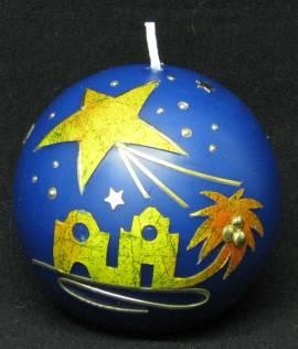 Kugelkerze -Bethlehem- blau, Handarbeit, 8cm Kugel - Bild vergrößern