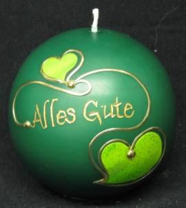 Kugelkerze -Alles Gute- grün, Handarbeit, 8cm Kugel - Bild vergrößern