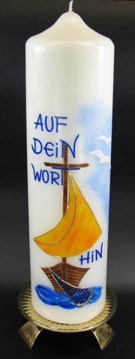 Zierkerze -Auf Dein Wort hin-, Handarbeit, 30x8cm - Bild vergrößern