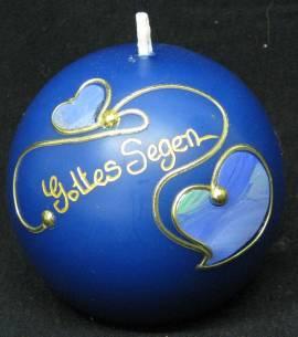 Kugelkerze -Gottes Segen- blau, Handarbeit, 8cm Kugel - Bild vergrößern