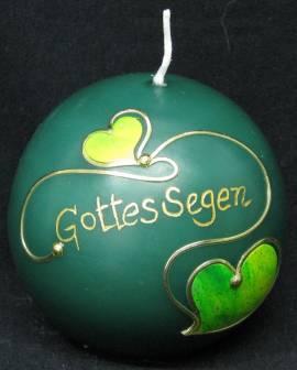 Kugelkerze -Gottes Segen- grün, Handarbeit, 8cm Kugel - Bild vergrößern