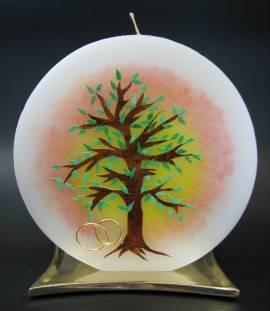 Hochzeitskerze Lebensbaum, von Hand verziert, rund 16cm Durchmesser - Bild vergrößern