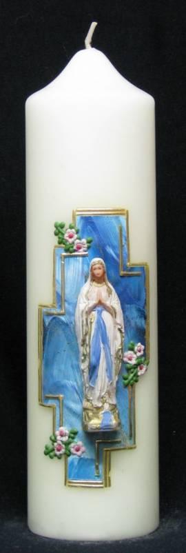 Marienkerze -Lourdes mit Kreuz-, Handarbeit, 21,5x6cm - Bild vergrößern