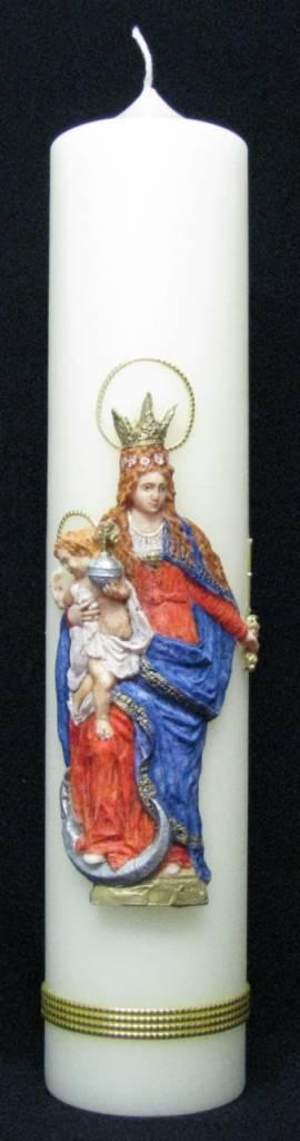 Marienkerze -Maria Königin-, Handarbeit, 40x8cm - Bild vergrößern
