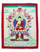 Thangka Buddha Shakyamuni auf Schneelöwenthron - Nepal