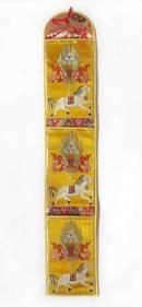Tibetischer Wandbehang mit 3 Taschen - Windpferd Lungta - Brokat - Nepal