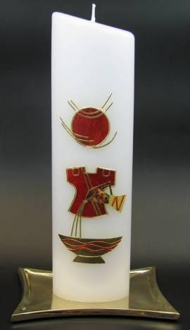 Taufkerze Taufkleid rot, Handarbeit, 24cm oval - Bild vergrößern