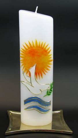 Taufkerze Sonne, Handarbeit, 24cm oval - Bild vergrößern