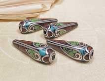 Tibetische Perlen für Ohrschmuck - 1 Paar - 2 Stück - Nepal #1