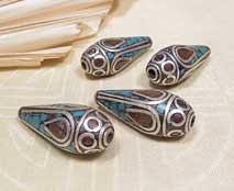 Tibetische Perlen für Ohrschmuck - 1 Paar - 2 Stück - Nepal #2