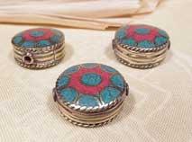 Tibet Perle - Button - Türkis Koralle - NEPAL