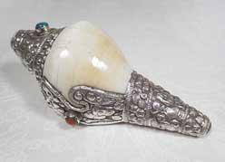 Tibetisches Muschelhorn - Conch - Sterling Silber - Nepal