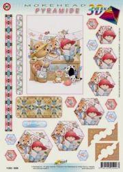 MOREHEAD-3D Pyramiden-Stanzbogen-Nr.5006-Teddy, Tiger und Co