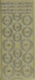 Zier-Sticker-Bogen-Jubil�um-Zahlen-gold-8120g