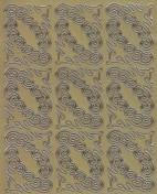 Zier-Sticker-Bogen -verschn�rkelte Ecken-gold-8483g