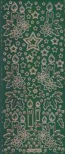 Zier-Sticker-Bogen-Advent-Kerzen-grün-gold-W 285grg