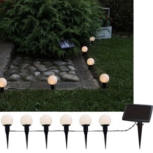 solar led lichterkette ballscombo mit 6 kugeln h ngen oder stecken ca 7m. Black Bedroom Furniture Sets. Home Design Ideas