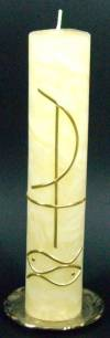 Taufkerze Christuszeichen, Handarbeit, 25x5cm, 100% Bienenwachs