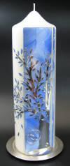 Hochzeitskerze Baum Silber, Handarbeit, 26,5x8cm