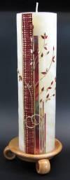 Hochzeitskerze Lebensbaum rot, 25% Bienenwachs, Handarbeit, 25x7cm
