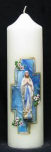 Marienkerze Lourdes mit Kreuz, Handarbeit, 21,5x6cm