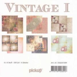 Motiv-Kartenpapier/Karton-Vintage 1-ca.200g-6 Motive-ca.15 x 15cm - Bild vergrößern