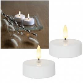 2er Set MAXI LED Teelichter 3D FLAMME 5,5x5,8cm flackernd mit TIMER weiß XL - Bild vergrößern
