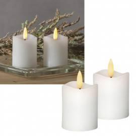 2er Set LED Mini-Kerzen 3D FLAMME 7,5x5cm flackernd Echtwachs mit TIMER weiß - Bild vergrößern