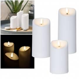 Outdoor LED Kerze für Außen -3D FLAMME- 13/15/18x7,5cm Timer flackernde Kunststoff-Kerze - Bild vergrößern